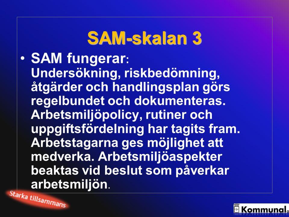 SAM-skalan 4 SAM fungerar och ger effekt: Arbetsgivaren bedriver ett aktivt systematiskt arbetsmiljöarbete enligt nivå 3, vilket ger effekt i form av fortlöpande arbetsmiljöförbättringar.
