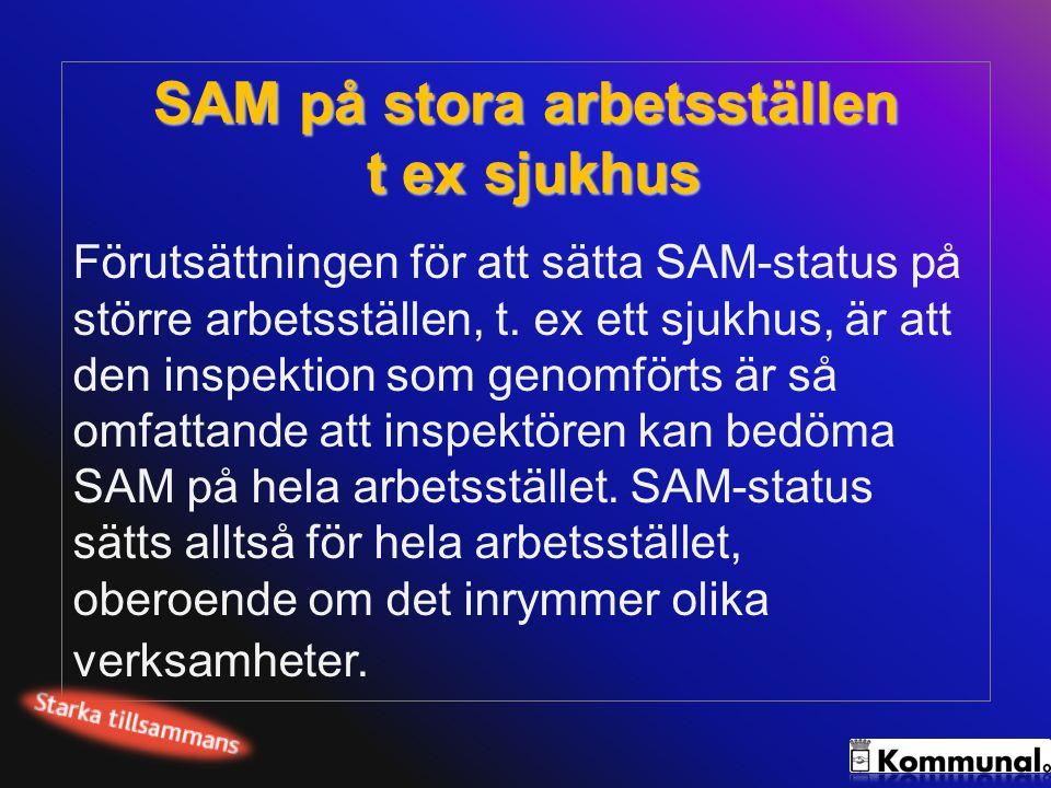 SAM på stora arbetsställen t ex sjukhus Förutsättningen för att sätta SAM-status på större arbetsställen, t. ex ett sjukhus, är att den inspektion som