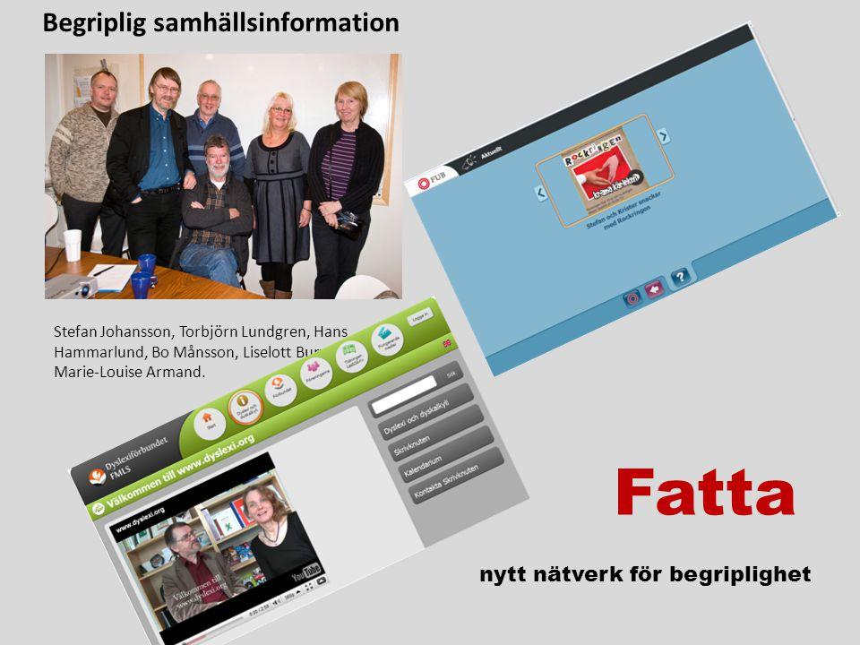 Fatta nytt nätverk för begriplighet Stefan Johansson, Torbjörn Lundgren, Hans Hammarlund, Bo Månsson, Liselott Burvall och Marie-Louise Armand.