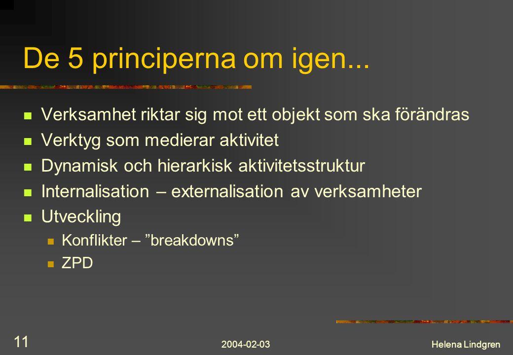2004-02-03Helena Lindgren 11 De 5 principerna om igen... Verksamhet riktar sig mot ett objekt som ska förändras Verktyg som medierar aktivitet Dynamis