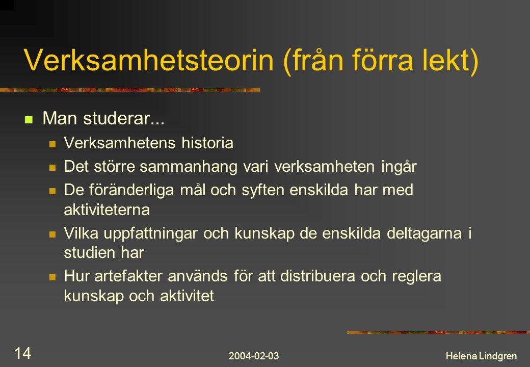 2004-02-03Helena Lindgren 14 Verksamhetsteorin (från förra lekt) Man studerar... Verksamhetens historia Det större sammanhang vari verksamheten ingår