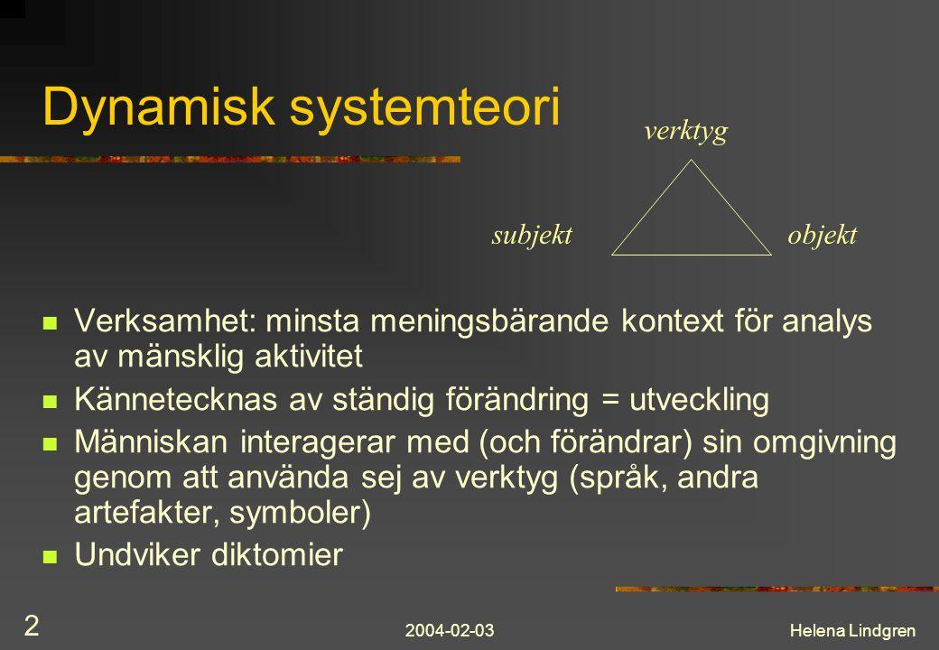 2004-02-03Helena Lindgren 2 Dynamisk systemteori Verksamhet: minsta meningsbärande kontext för analys av mänsklig aktivitet Kännetecknas av ständig fö