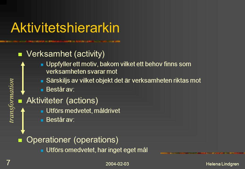 2004-02-03Helena Lindgren 7 Aktivitetshierarkin Verksamhet (activity) Uppfyller ett motiv, bakom vilket ett behov finns som verksamheten svarar mot Sä