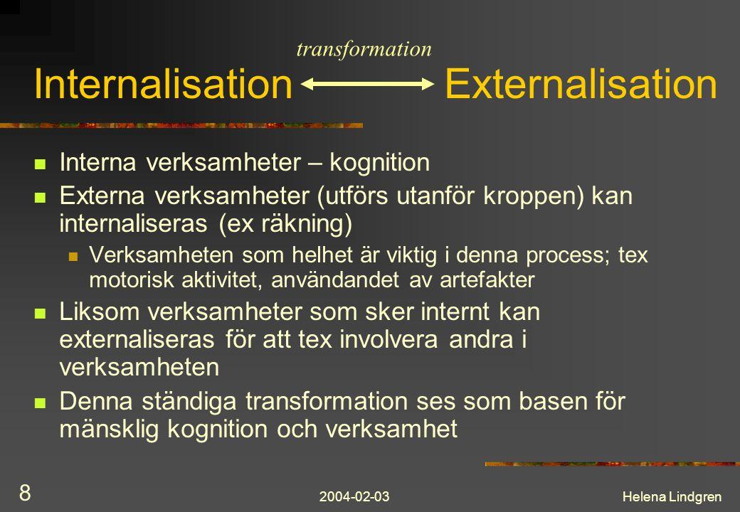 2004-02-03Helena Lindgren 19 Task – artifact framework Designern skapar möjligheter för mänsklig aktivitet och interaktion Fokus på aktiviteten Utgår från det användaren kan uttrycka: Vad vill man göra Vad behöver man kunna göra På en nivå där aktiviteten är meningsfull för personen (jmfr Task analysis)