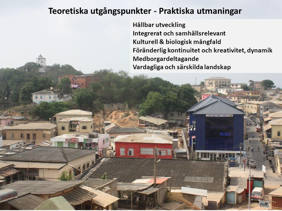 Hållbar utveckling Integrerat och samhällsrelevant Kulturell & biologisk mångfald Föränderlig kontinuitet och kreativitet, dynamik Medborgardeltagande Vardagliga och särskilda landskap Teoretiska utgångspunkter - Praktiska utmaningar