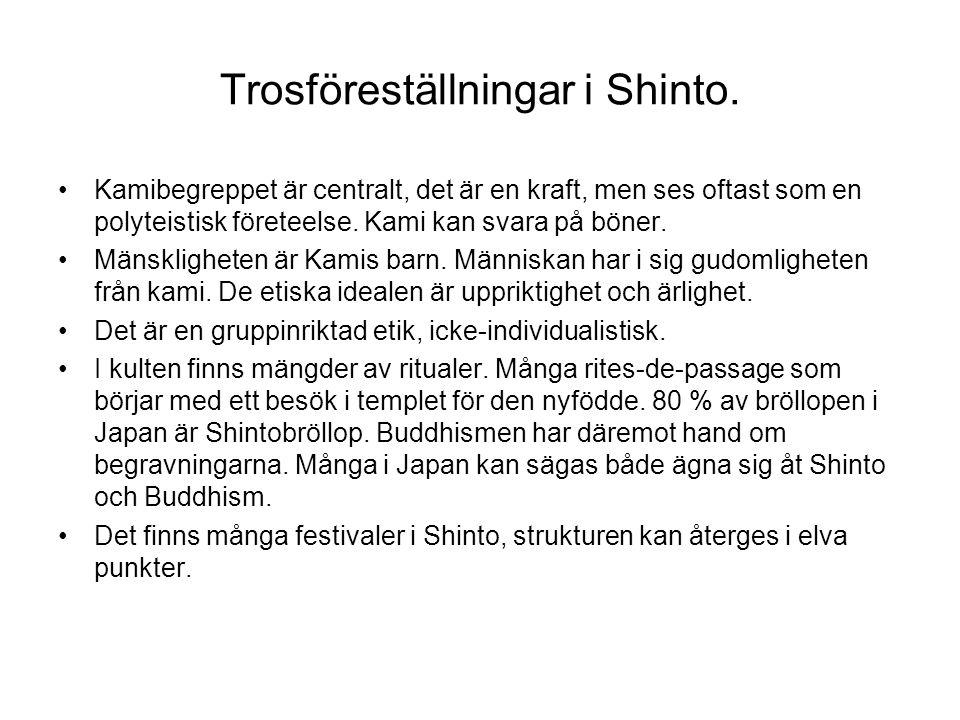 Trosföreställningar i Shinto. Kamibegreppet är centralt, det är en kraft, men ses oftast som en polyteistisk företeelse. Kami kan svara på böner. Mäns