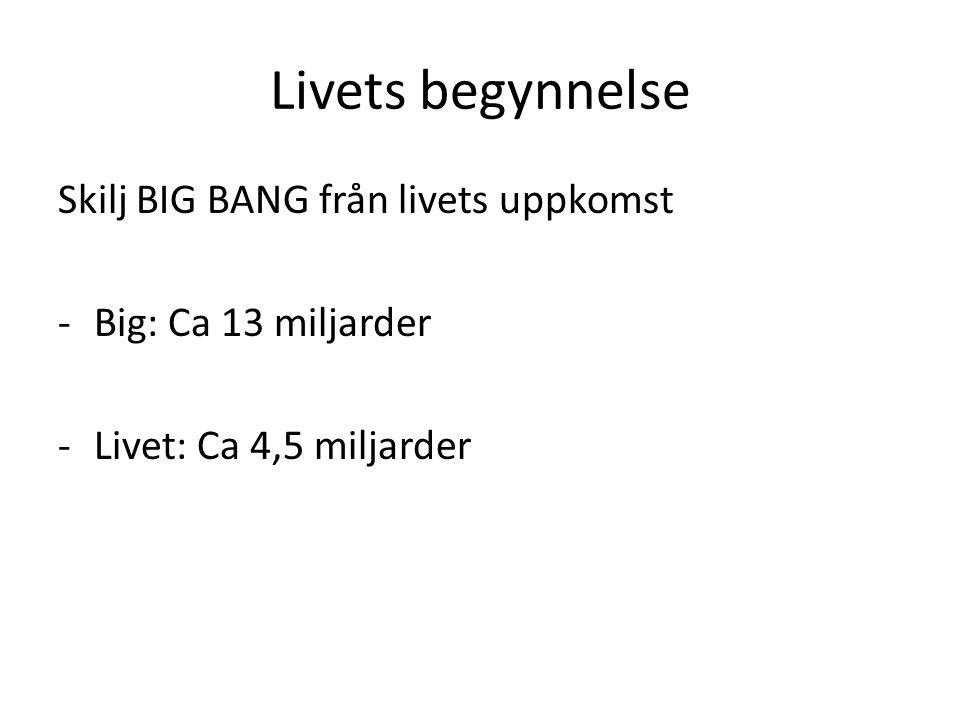 Livets begynnelse Skilj BIG BANG från livets uppkomst -Big: Ca 13 miljarder -Livet: Ca 4,5 miljarder