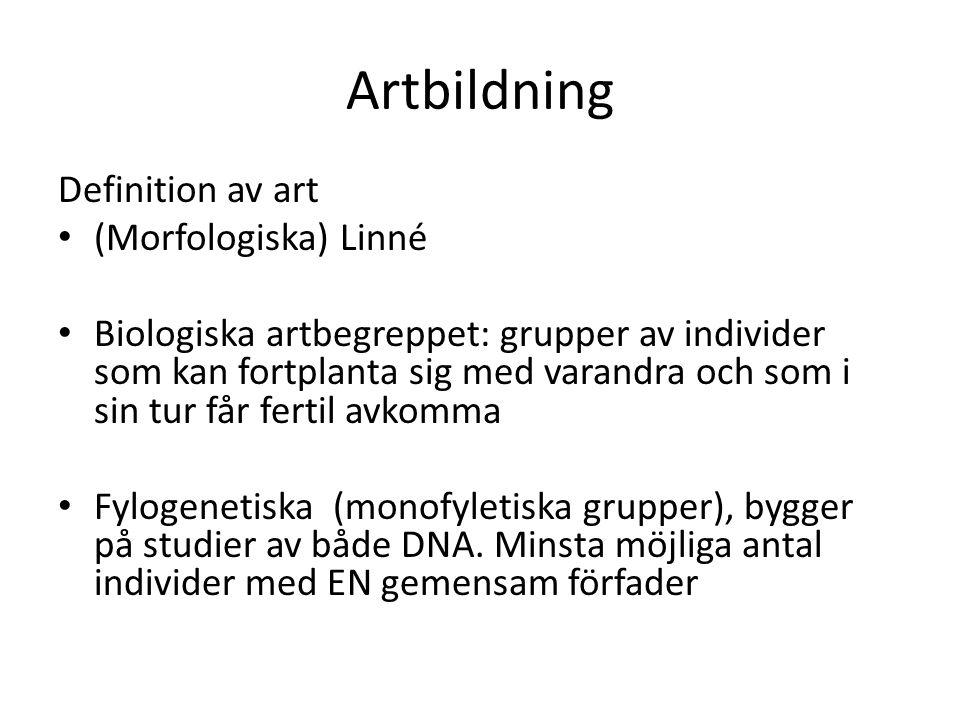 Artbildning Definition av art (Morfologiska) Linné Biologiska artbegreppet: grupper av individer som kan fortplanta sig med varandra och som i sin tur får fertil avkomma Fylogenetiska (monofyletiska grupper), bygger på studier av både DNA.