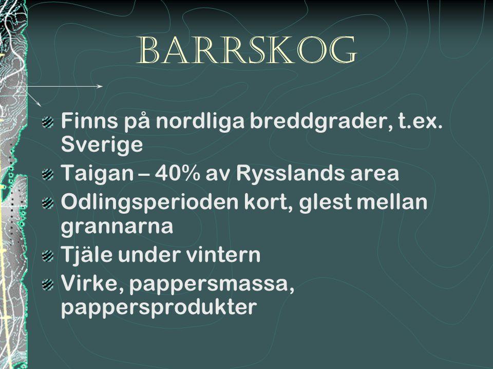 barrSkog Finns på nordliga breddgrader, t.ex. Sverige Taigan – 40% av Rysslands area Odlingsperioden kort, glest mellan grannarna Tjäle under vintern