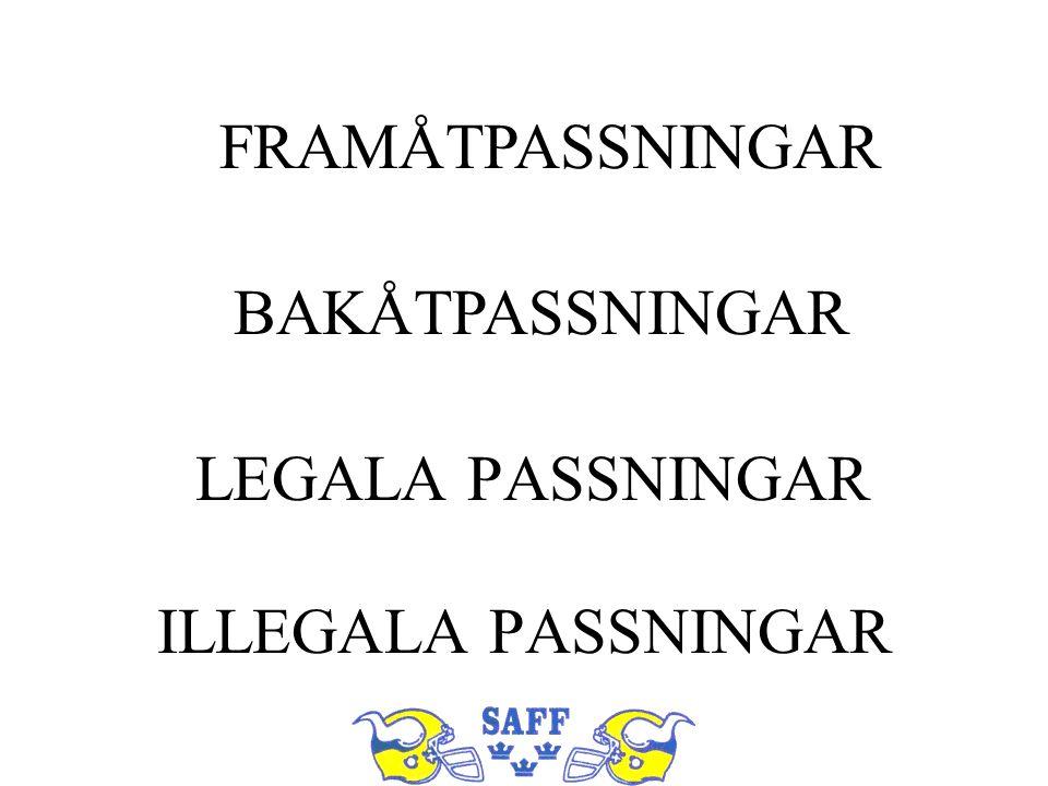 LEGALA PASSNINGAR ILLEGALA PASSNINGAR FRAMÅTPASSNINGAR BAKÅTPASSNINGAR