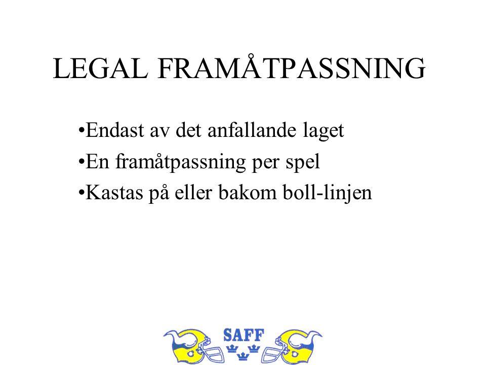 LEGAL FRAMÅTPASSNING Endast av det anfallande laget En framåtpassning per spel Kastas på eller bakom boll-linjen