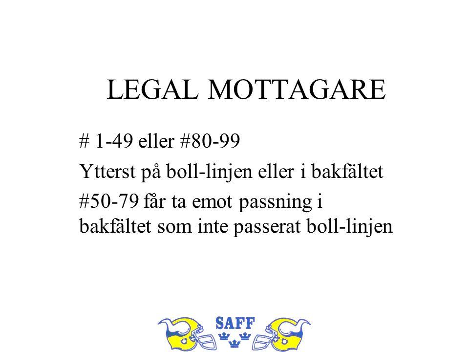 LEGAL MOTTAGARE # 1-49 eller #80-99 Ytterst på boll-linjen eller i bakfältet #50-79 får ta emot passning i bakfältet som inte passerat boll-linjen