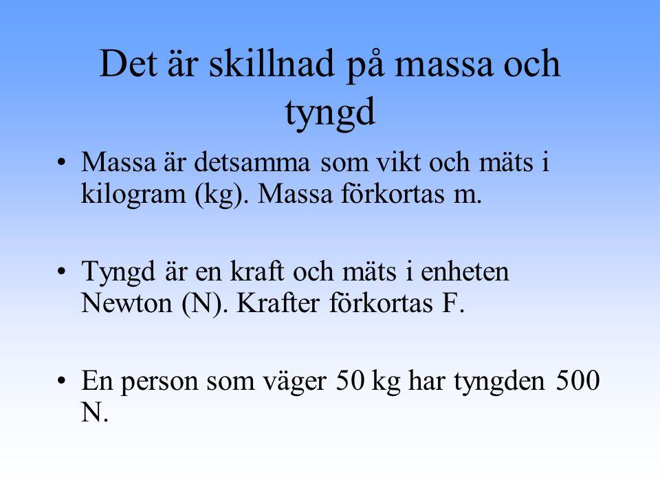 Det är skillnad på massa och tyngd Massa är detsamma som vikt och mäts i kilogram (kg).