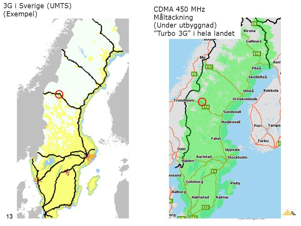 13 3G i Sverige (UMTS) (Exempel) CDMA 450 MHz Måltäckning (Under utbyggnad) Turbo 3G i hela landet