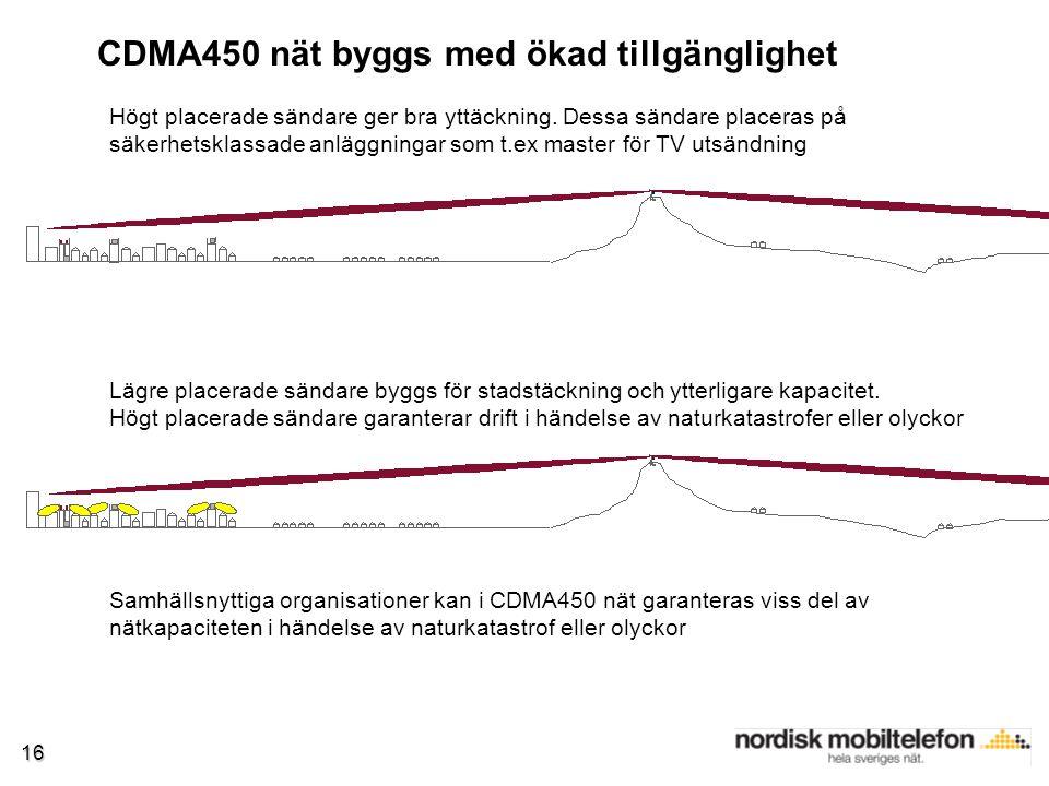 16 CDMA450 nät byggs med ökad tillgänglighet Högt placerade sändare ger bra yttäckning.
