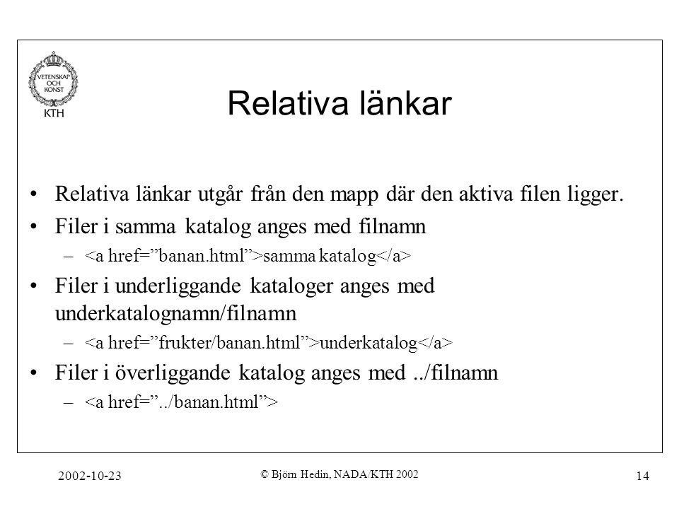 2002-10-23 © Björn Hedin, NADA/KTH 2002 14 Relativa länkar Relativa länkar utgår från den mapp där den aktiva filen ligger. Filer i samma katalog ange