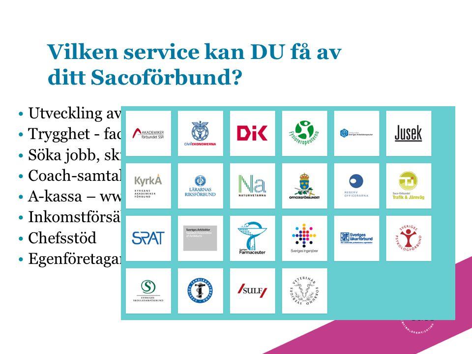 Vilken service kan DU få av ditt Sacoförbund? Utveckling av din kompetens Trygghet - facklig och juridisk hjälp Söka jobb, skriva cv, Coach-samtal, rå