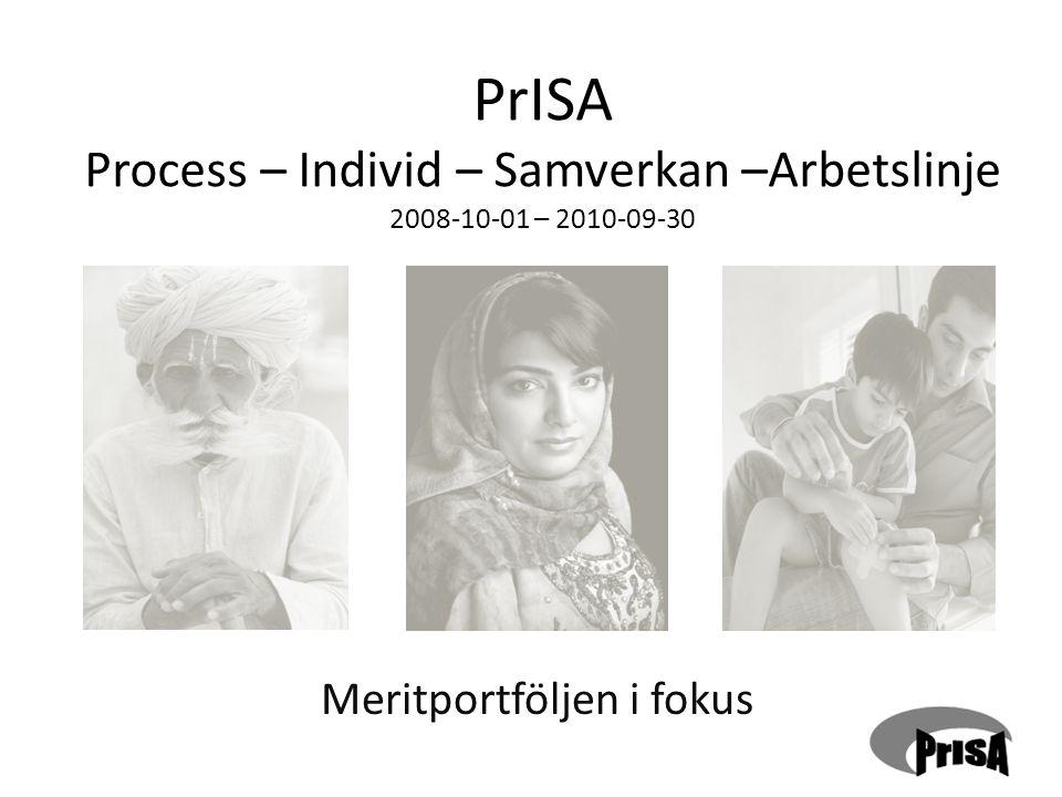 PrISA Process – Individ – Samverkan –Arbetslinje 2008-10-01 – 2010-09-30 Meritportföljen i fokus