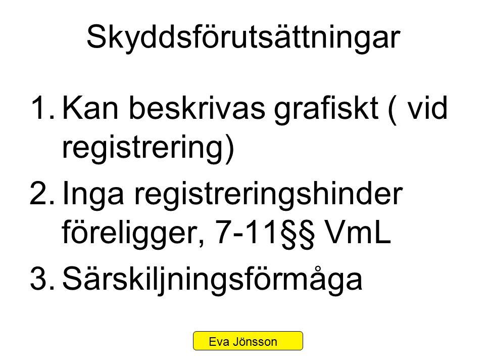 Skyddsförutsättningar 1.Kan beskrivas grafiskt ( vid registrering) 2.Inga registreringshinder föreligger, 7-11§§ VmL 3.Särskiljningsförmåga Eva Jönsso
