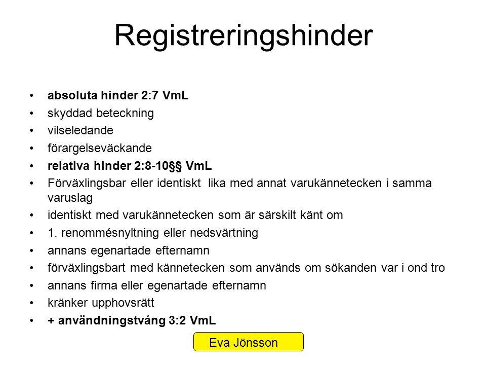 Registreringshinder absoluta hinder 2:7 VmL skyddad beteckning vilseledande förargelseväckande relativa hinder 2:8-10§§ VmL Förväxlingsbar eller ident