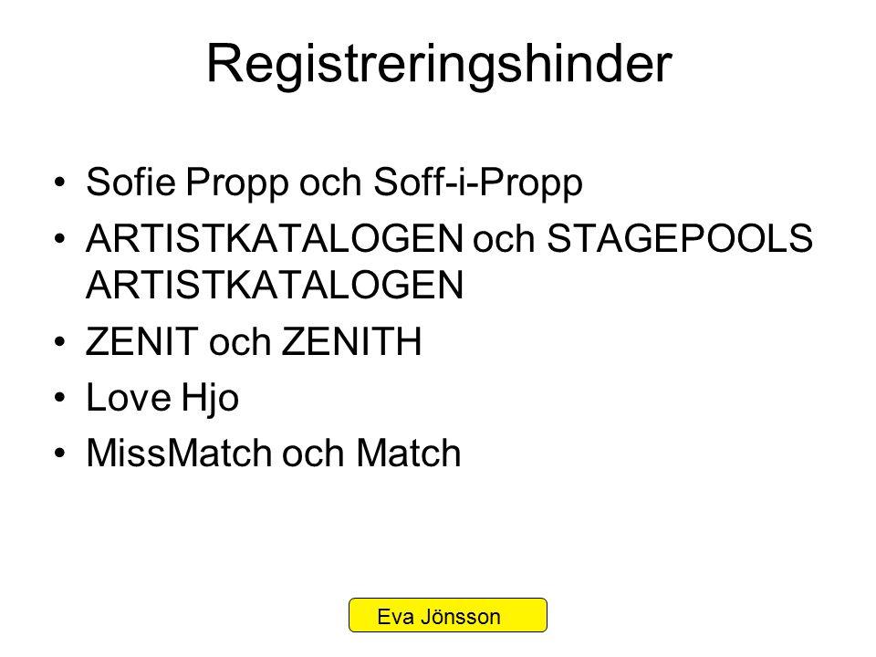 Registreringshinder Sofie Propp och Soff-i-Propp ARTISTKATALOGEN och STAGEPOOLS ARTISTKATALOGEN ZENIT och ZENITH Love Hjo MissMatch och Match Eva Jöns