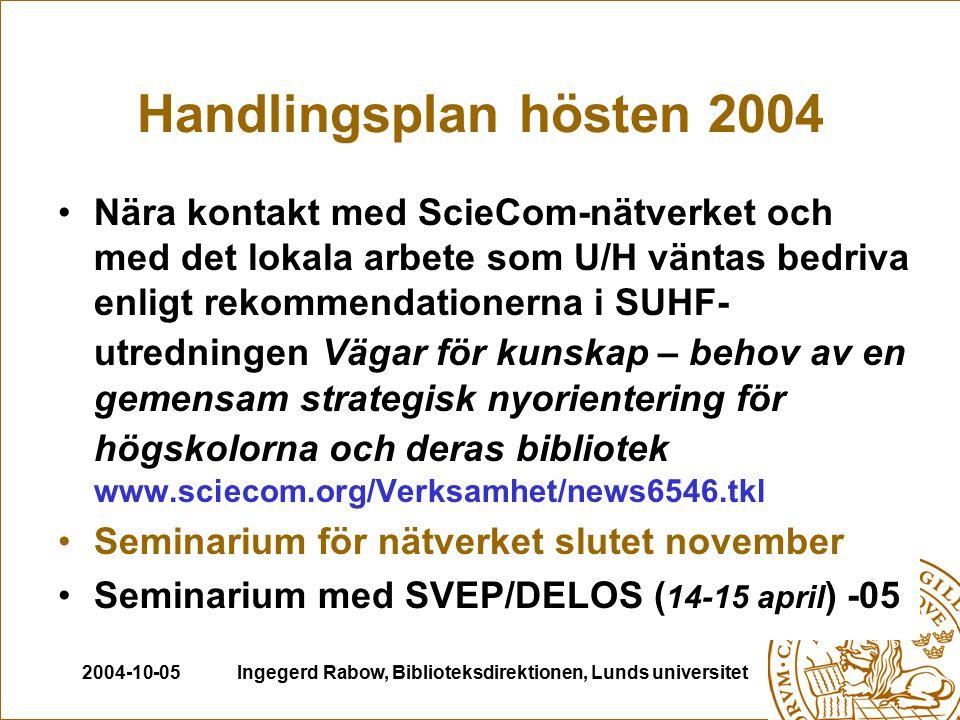 2004-10-05Ingegerd Rabow, Biblioteksdirektionen, Lunds universitet Tre nyckelområden Open Access – finansieringsmodeller, kostnader, utveckling Upphovsrätt – modellavtal på nationell nivå enligt LU:s modell, nationell och internationell lagstiftning, EU-direktiv, innehållskontroll, licenser och kontrakt Kvalitet- och utvärdering – peer review, impact factors, bibliometriska analyser, resultatfinansiering