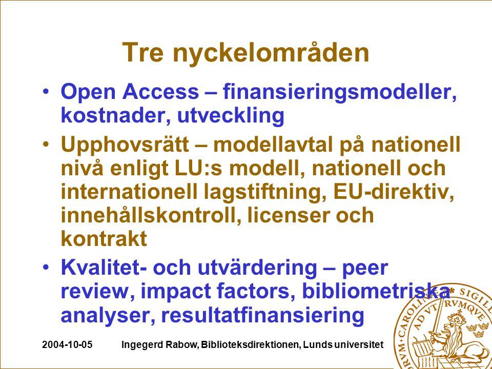 2004-10-05Ingegerd Rabow, Biblioteksdirektionen, Lunds universitet Tre nyckelområden Open Access – finansieringsmodeller, kostnader, utveckling Upphov