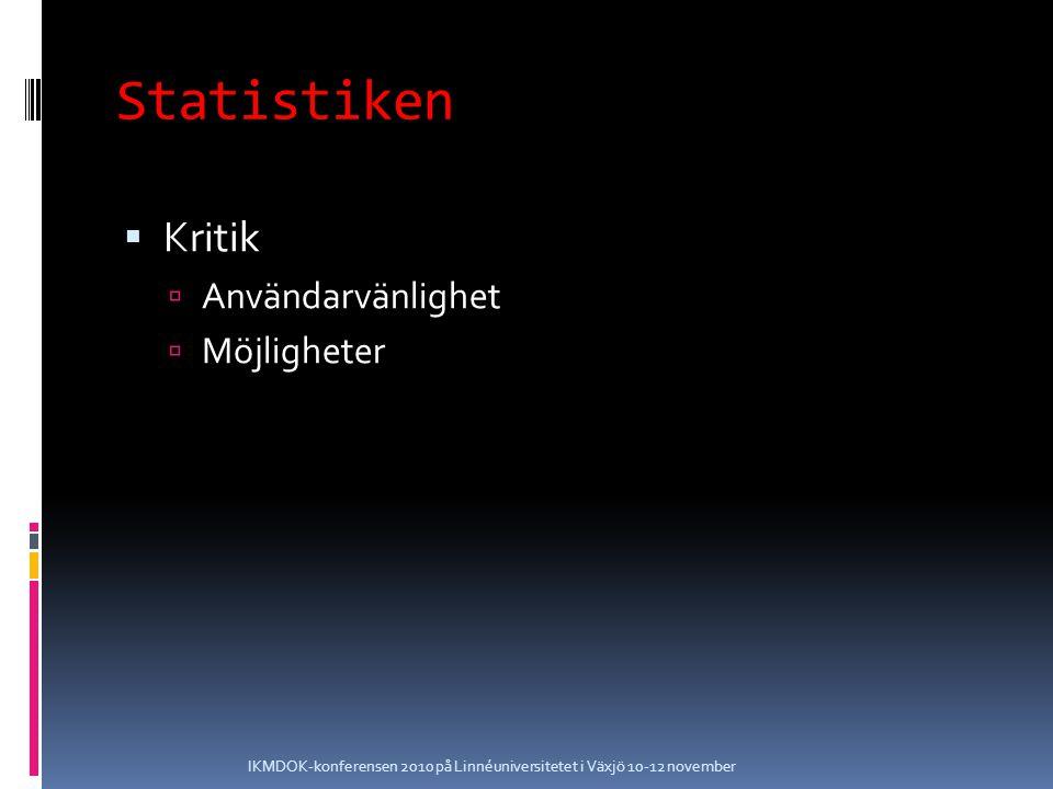 Statistiken  Kritik  Användarvänlighet  Möjligheter IKMDOK-konferensen 2010 på Linnéuniversitetet i Växjö 10-12 november