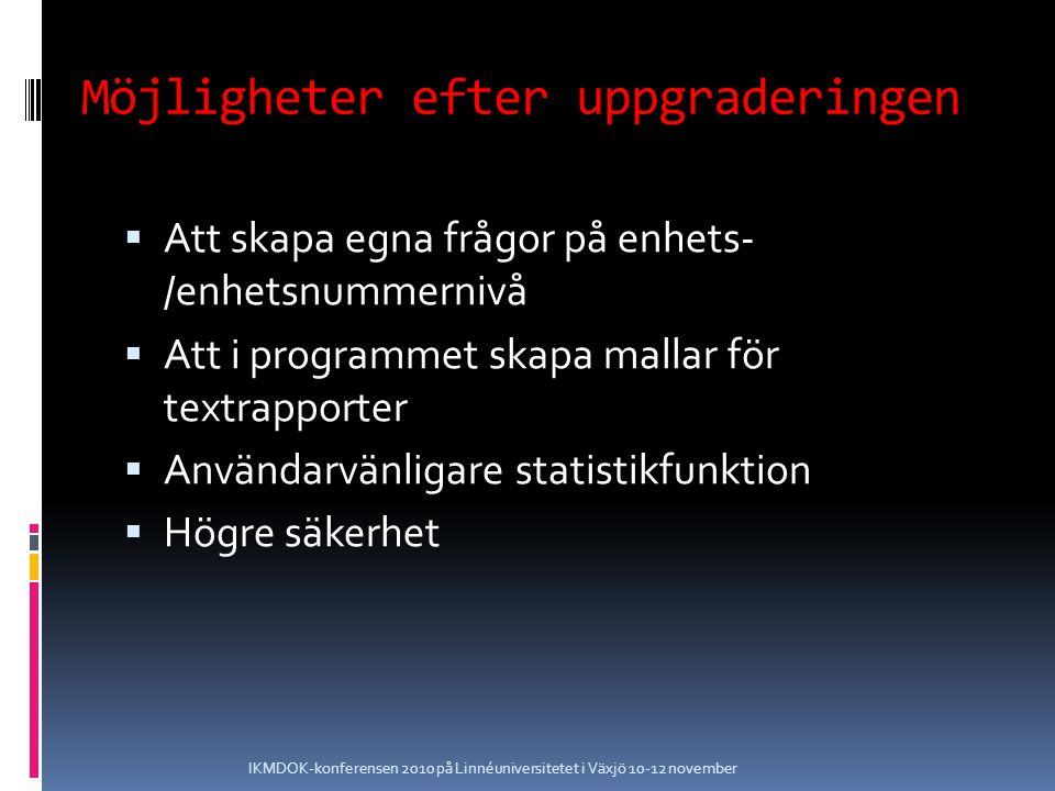 Möjligheter efter uppgraderingen  Att skapa egna frågor på enhets- /enhetsnummernivå  Att i programmet skapa mallar för textrapporter  Användarvänligare statistikfunktion  Högre säkerhet IKMDOK-konferensen 2010 på Linnéuniversitetet i Växjö 10-12 november