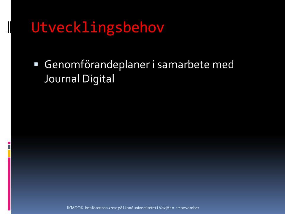 Utvecklingsbehov  Genomförandeplaner i samarbete med Journal Digital IKMDOK-konferensen 2010 på Linnéuniversitetet i Växjö 10-12 november
