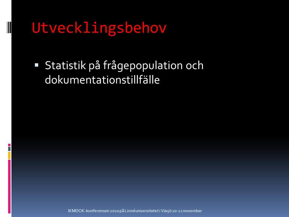 Utvecklingsbehov  Funderingar kring snabbare ifyllande av dagens formulär IKMDOK-konferensen 2010 på Linnéuniversitetet i Växjö 10-12 november
