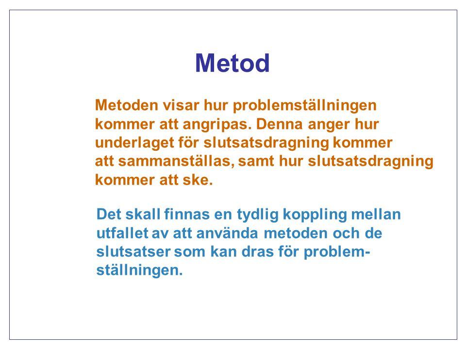 En logiskt fungerande helhet Problemställning Metod Bakgrund Empiri Slutsatser Titel