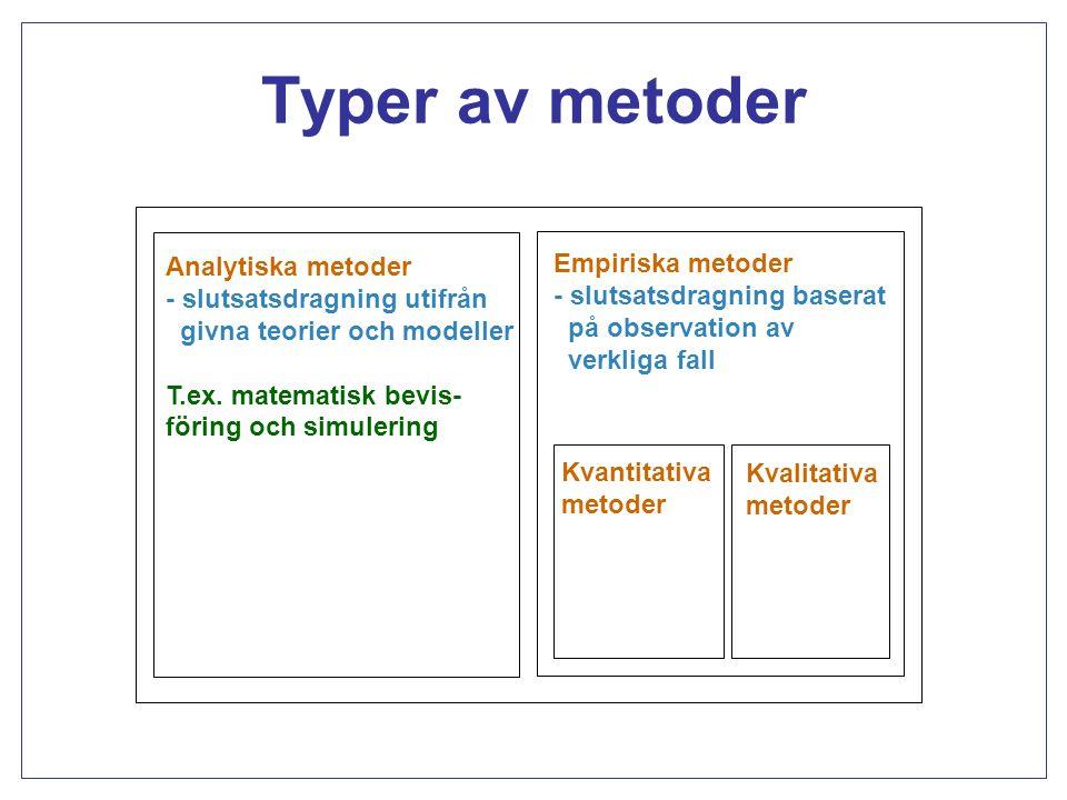 Empiriska metoder Kvantitativa metoder - bygger på insamling av (större) mängd observationer - statistisk slutsatsdragning Kvalitativa metoder - djupgående studie av (få) objekt - resonemang