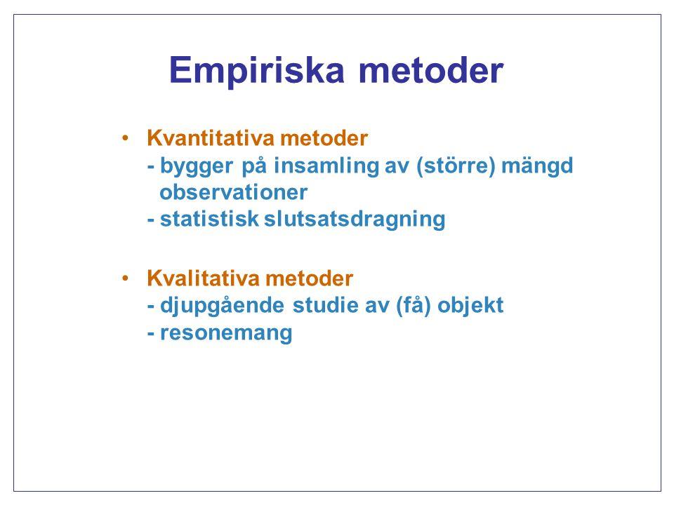 Kvantitativa metoder Icke-experimentella studier - prospektiva vs.