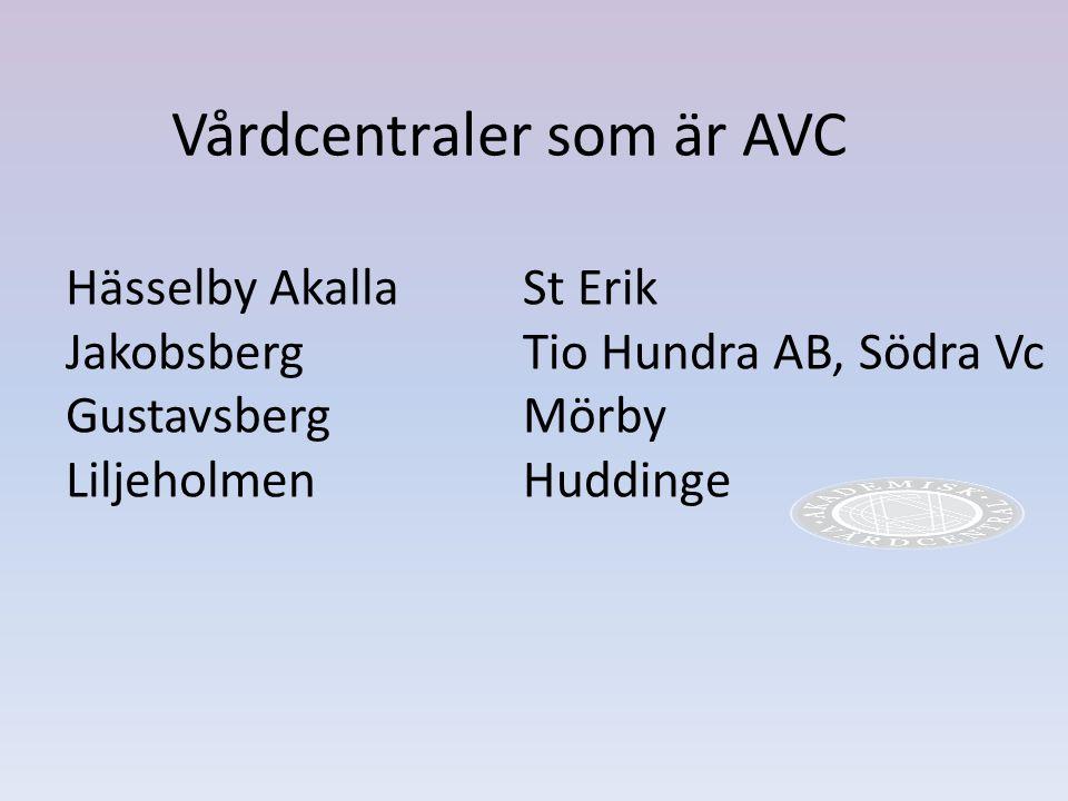 Vårdcentraler som är AVC Hässelby Akalla Jakobsberg Gustavsberg Liljeholmen St Erik Tio Hundra AB, Södra Vc Mörby Huddinge