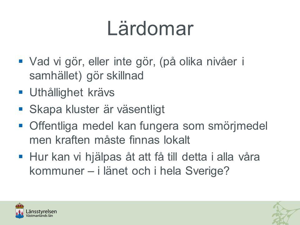 Lärdomar  Vad vi gör, eller inte gör, (på olika nivåer i samhället) gör skillnad  Uthållighet krävs  Skapa kluster är väsentligt  Offentliga medel kan fungera som smörjmedel men kraften måste finnas lokalt  Hur kan vi hjälpas åt att få till detta i alla våra kommuner – i länet och i hela Sverige