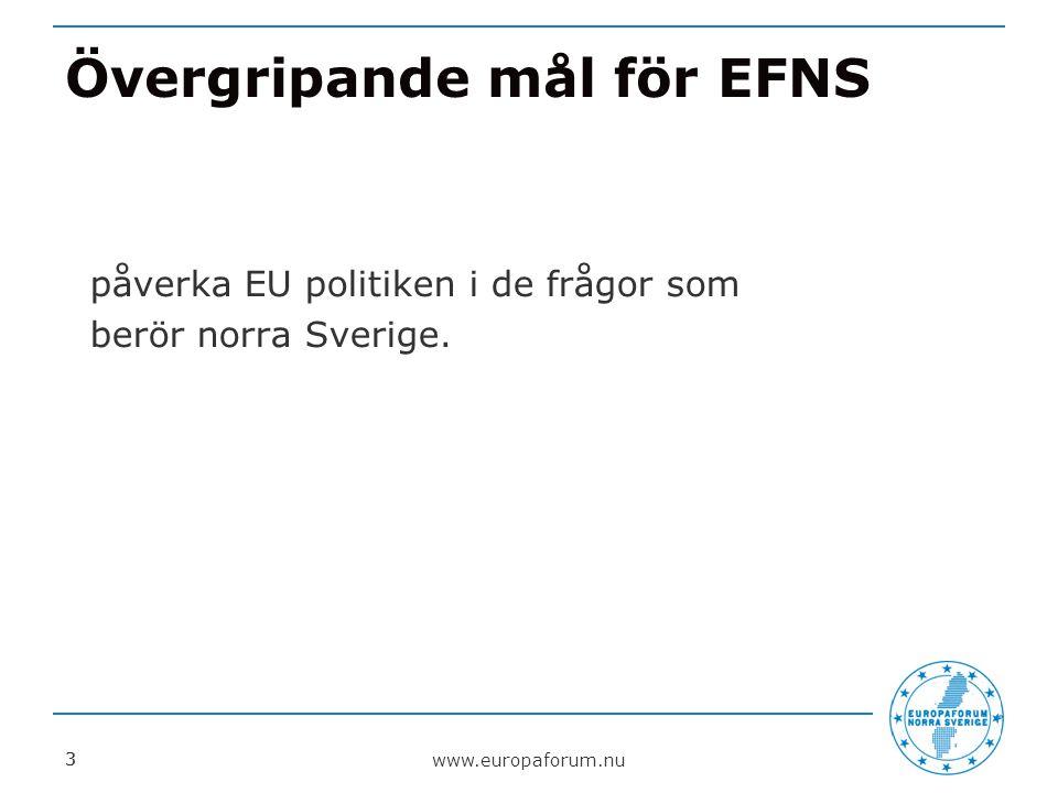 EFNS fokusområden för bevakning och påverkan o Infrastruktur o Energi, miljö och klimat o Regional utveckling/ sammanhållningspolitik o Attraktiv livsmiljö/ demografi o Näringspolitik o Forskning och innovation www.europaforum.nu 4