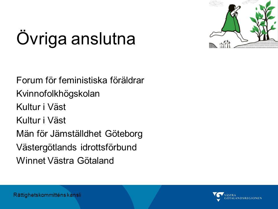 Övriga anslutna Forum för feministiska föräldrar Kvinnofolkhögskolan Kultur i Väst Män för Jämställdhet Göteborg Västergötlands idrottsförbund Winnet