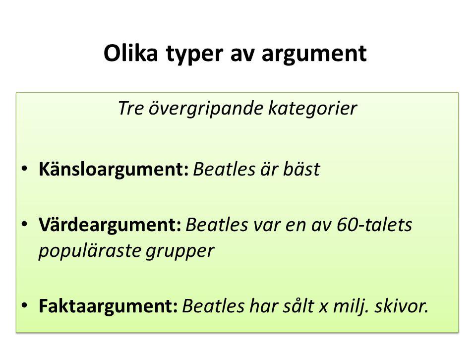 Olika typer av argument Tre övergripande kategorier Känsloargument: Beatles är bäst Värdeargument: Beatles var en av 60-talets populäraste grupper Fak