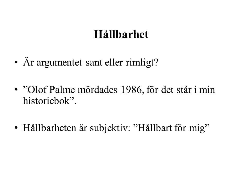"""Hållbarhet Är argumentet sant eller rimligt? """"Olof Palme mördades 1986, för det står i min historiebok"""". Hållbarheten är subjektiv: """"Hållbart för mig"""""""