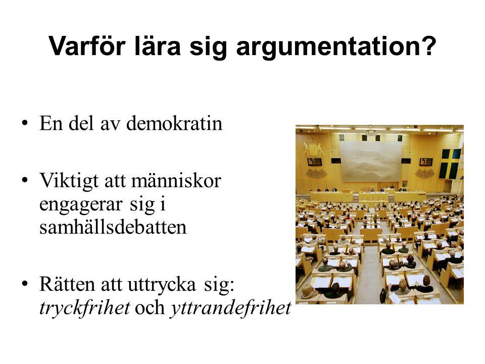 Varför lära sig argumentation? En del av demokratin Viktigt att människor engagerar sig i samhällsdebatten Rätten att uttrycka sig: tryckfrihet och yt