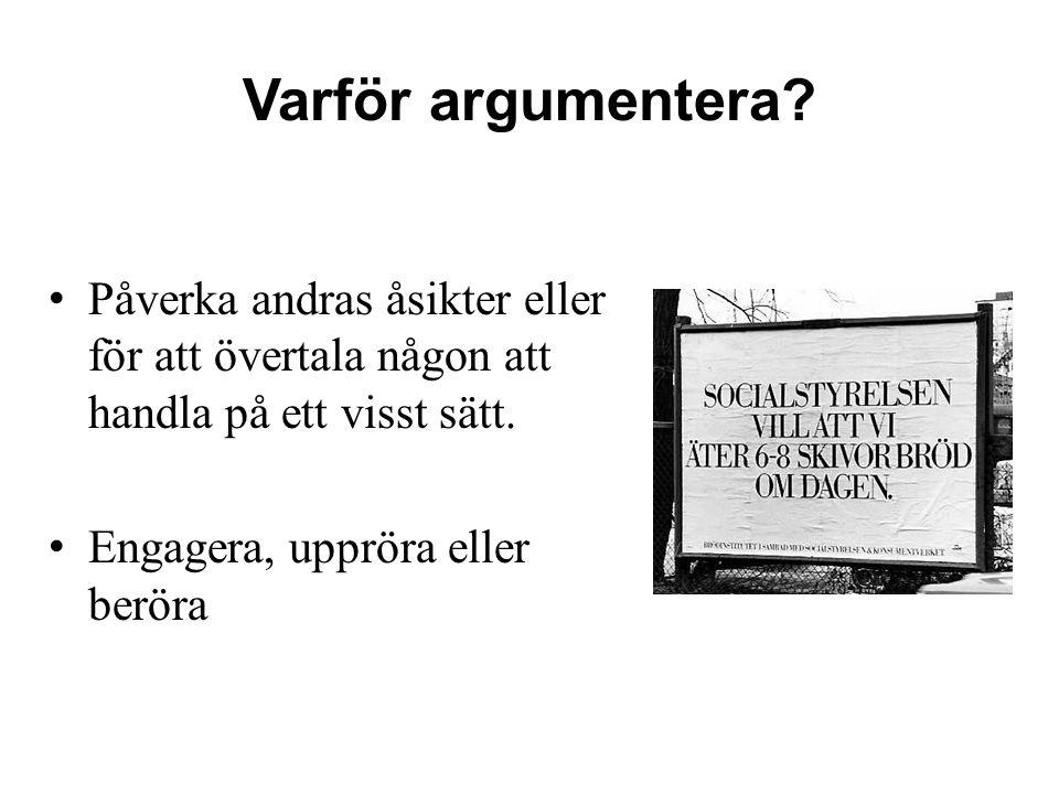 Varför argumentera? Påverka andras åsikter eller för att övertala någon att handla på ett visst sätt. Engagera, uppröra eller beröra