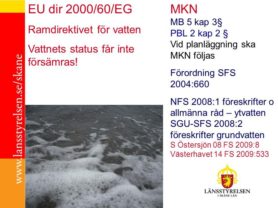 MKN MB 5 kap 3§ PBL 2 kap 2 § Vid planläggning ska MKN följas Förordning SFS 2004:660 NFS 2008:1 föreskrifter o allmänna råd – ytvatten SGU-SFS 2008:2