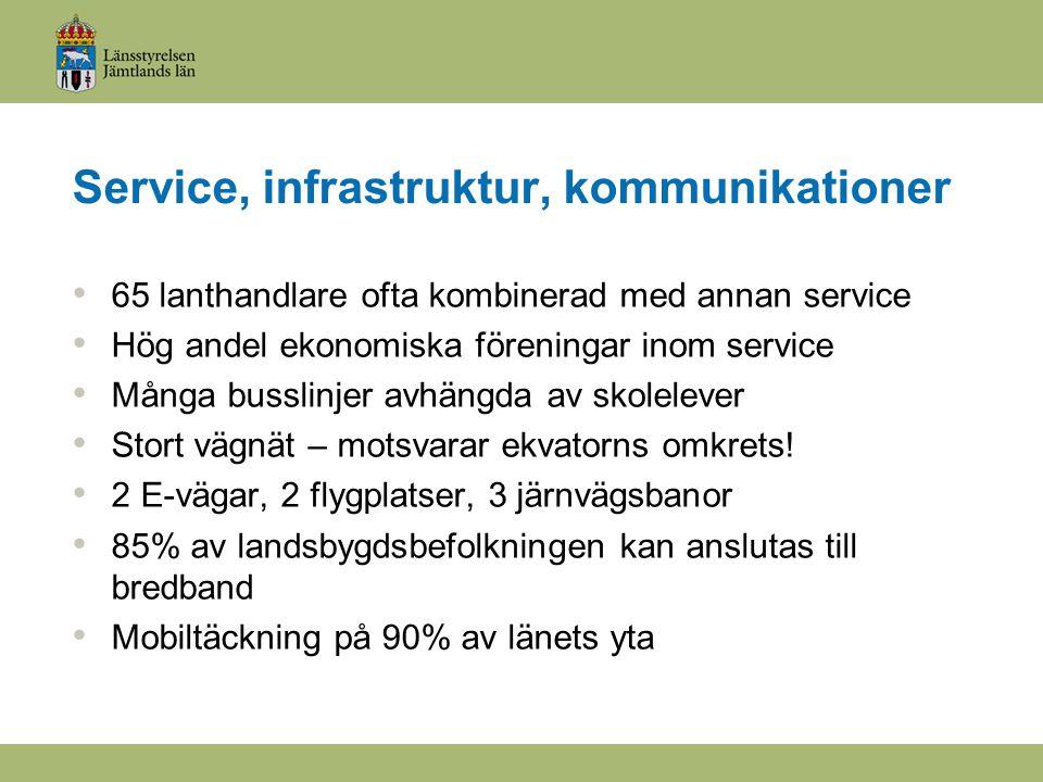 Service, infrastruktur, kommunikationer 65 lanthandlare ofta kombinerad med annan service Hög andel ekonomiska föreningar inom service Många busslinjer avhängda av skolelever Stort vägnät – motsvarar ekvatorns omkrets.