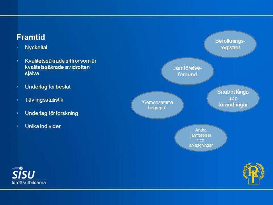 Framtid Nyckeltal Kvalitetssäkrade siffror som är kvalitetssäkrade av idrotten själva Underlag för beslut Tävlingsstatistik Underlag för forskning Uni
