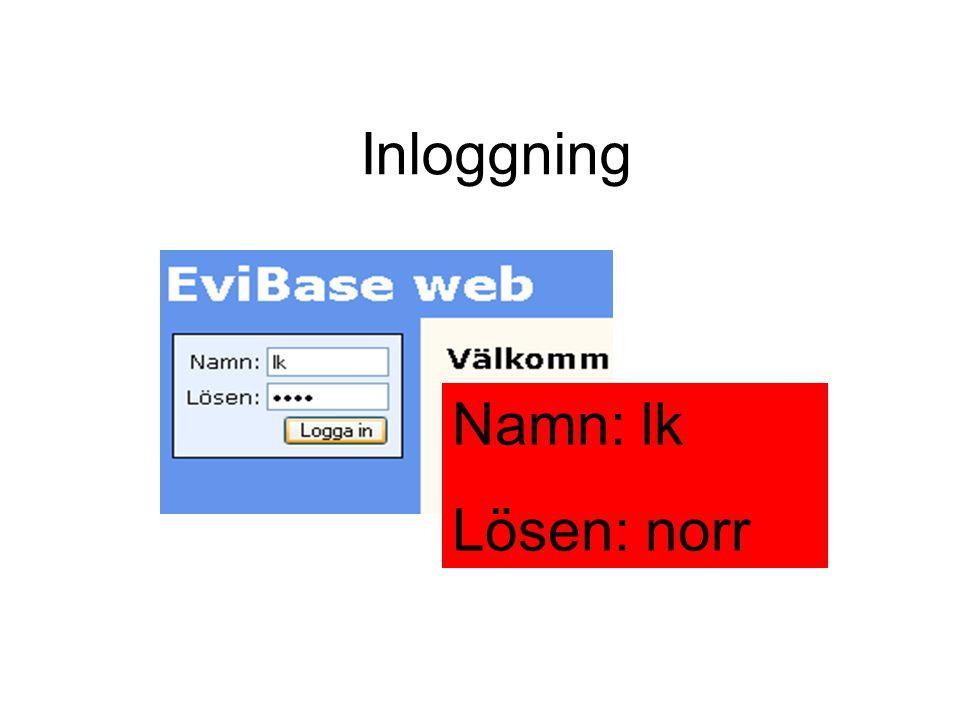 Inloggning Namn: lk Lösen: norr
