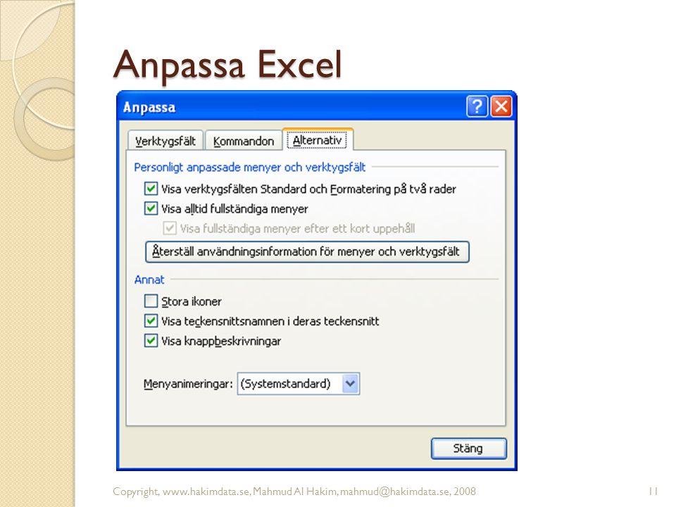 Anpassa Excel 11Copyright, www.hakimdata.se, Mahmud Al Hakim, mahmud@hakimdata.se, 2008