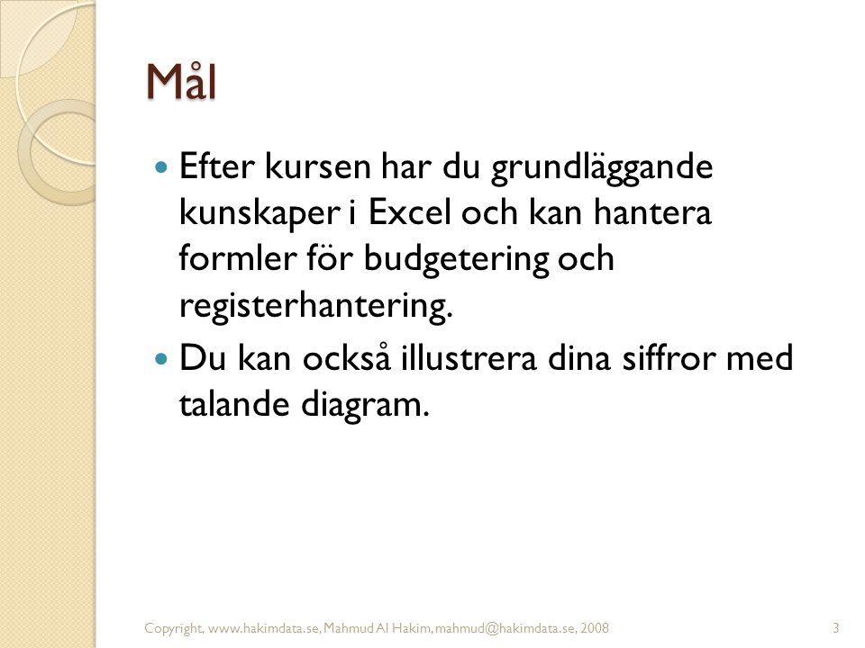 Autosumma Övning: sid 15. 14Copyright, www.hakimdata.se, Mahmud Al Hakim, mahmud@hakimdata.se, 2008