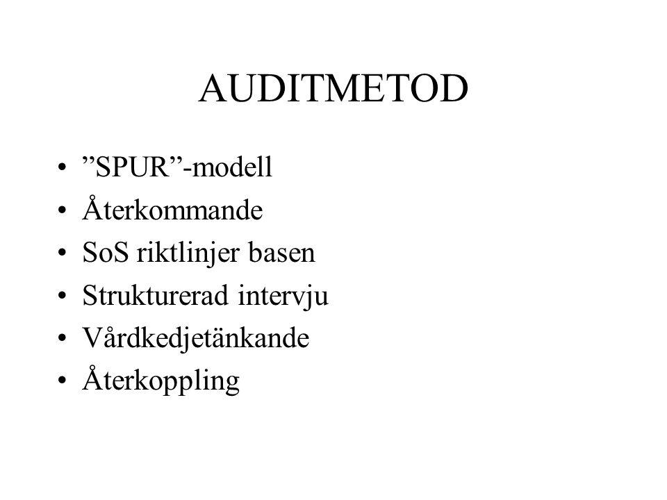 """AUDITMETOD """"SPUR""""-modell Återkommande SoS riktlinjer basen Strukturerad intervju Vårdkedjetänkande Återkoppling"""