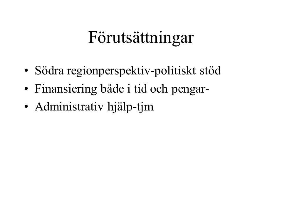 Förutsättningar Södra regionperspektiv-politiskt stöd Finansiering både i tid och pengar- Administrativ hjälp-tjm